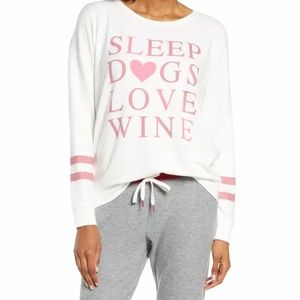 PJ Salvage Sleep Dogs Love Wine Crewneck Pullover
